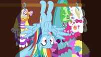Rainbow hanging upside-down in Pinkie's closet S6E15