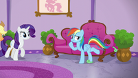 Rainbow kicking off her Tank slippers S6E10