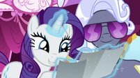 Rarity and Hoity and Toity look at photographs S7E9