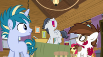 Rumble singing on the jam-making table S7E21
