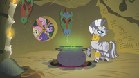 Twilight, Fluttershy, and Pinkie Pie Looking In Zecora's Window S1E09