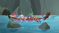 Young Six continue paddling the canoe S8E9