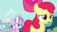Diamond Tiara and Silver Spoon walking behind Apple Bloom S4E15