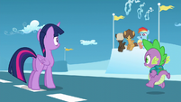 Filly Rainbow --This is way more exciting!--; Spike approaches S5E26