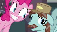 Janitor Pony nervously next to Pinkie Pie S7E23