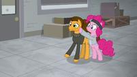 Pinkie Pie grabbing Cheese's cheeks S9E14