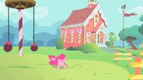 Pinkie Pie rolling around in the school playground S1E15