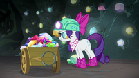 Rarity collects more gems in her cart S8E17