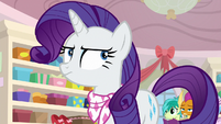 Rarity rolling her eyes at Rainbow Dash S8E17
