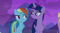 Twilight and Rainbow Dash look at each other S7E11