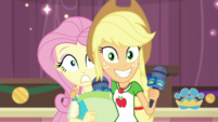 Applejack and Fluttershy look at the camera EGDS35
