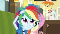 Rainbow Dash puts pony ears on EG
