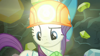 Rarity looking at gem of the ground S9E19