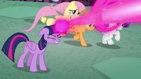 Twilight's friends running past her S8E26