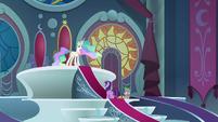 Twilight and Spike in Celestia's throne room S8E7