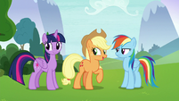 Applejack beckons the students to follow her S8E9
