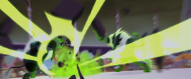 Explosion of green light and smoke MLPTM