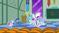 Filly Twilight hopping around Celestia S1E23