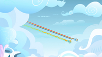 Final approach by Rainbow Dash and Lightning Dust S3E07