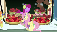 Fluttershy looking at Berryshine's wares MLPBGE