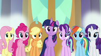 Mane Six and Starlight looking at Ember S8E2