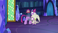 Spike trying to leave the library S9E16