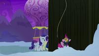 Spy Pinkie Pie falling into the snow S7E11