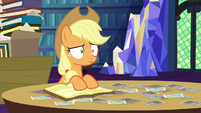 Applejack stares blankly at Starlight Glimmer S6E21