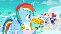 Filly Rainbow Dash hears her parents cheering S7E7