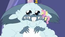 Fluttershy gives winterzilla a comforting hug MLPBGE.png