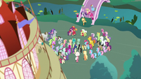 Main ponies and Spike enter Ponyville S9E25