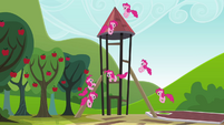 Pinkie Pie clones playing around with the tower S3E03