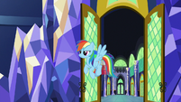 Rainbow Dash entering the throne room S9E14