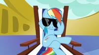 Rainbow Dash lowers her sunglasses S6E21