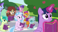 Twilight and students observe Rarity and Dash S8E17