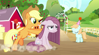 Applejack pushing Pinkie Pie to a spot S8E18