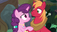 Big Mac and Sugar Belle smile at each other S9E23