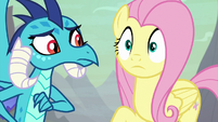 Fluttershy with widening eyes S9E9