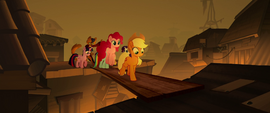 Mane Six crossing Capper's plank bridge MLPTM