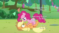 "Pinkie's fourth ""how""; Pinkie puts Applejack down S5E24"