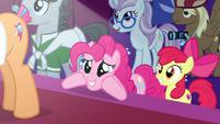 Pinkie Pie eagerly awaits Applejack's decision S7E9