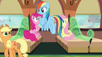 Rainbow and Applejack leaving the train car S6E18