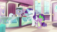 Rarity and Spike in a jewelry store S9E19