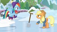 Applejack challenges Rainbow to dig holes BGES1