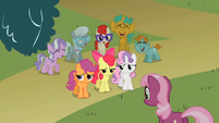 Cutie Mark Crusaders being laughed at by the class S2E01
