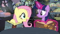 Fluttershy points to a journal entry S7E20