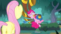 Fluttershy watches Pinkie play yovidaphone S8E18