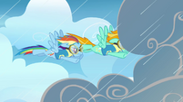 Lightning and Rainbow going through the rainclouds S3E07