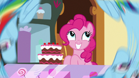 Pinkie Pie following Rainbow Dash's flipping S8E5