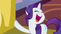 Rarity laughs loudly at Spike's 'joke' S9E19